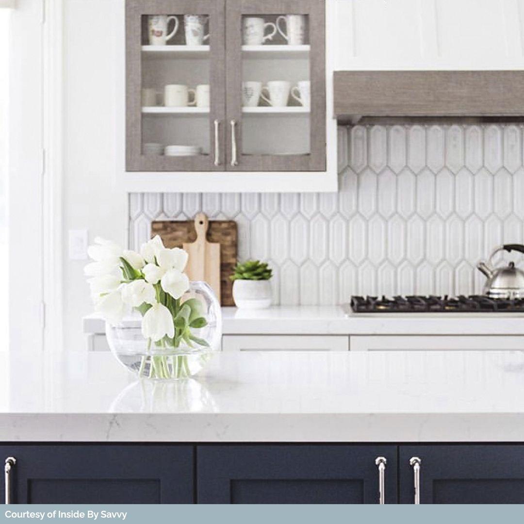 Nabi Hexagon Glacier White Ceramic Tile Kitchen Decor Apartment Kitchen Backsplash Trends Backsplash For White Cabinets