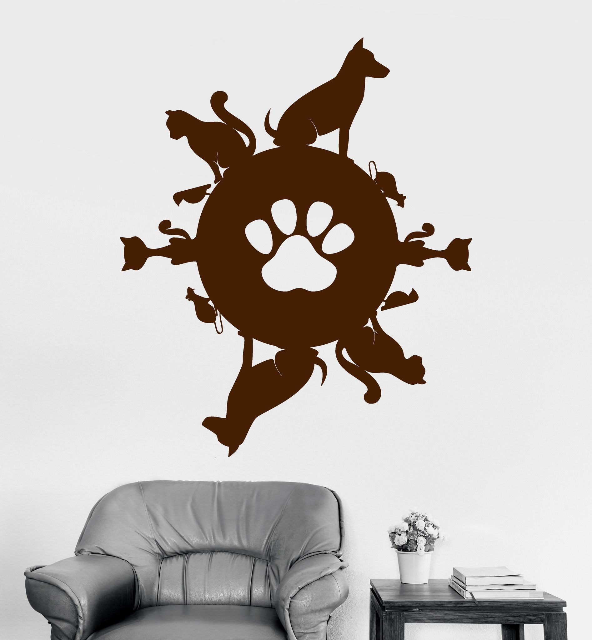 Vinyl Wall Decal Pet Planet Animal Shop Cat Dog Stickers Mural