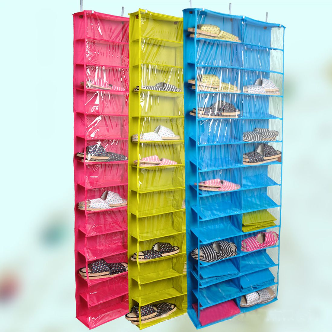 Closet Ware Clear Over The Door 26 Pocket Shoe Organizer Washable Polyester Rack Hanging Storage Bag