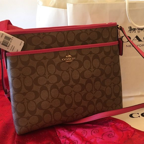 ⬛️SALE⬛️COACH SIGNATURE FILE BAG (NEW) COACH CROSS BODY HANDBAG BROWN PINK  RUBY WITH TAGS ATTACHED GORGEOUS Coach Bags Crossbody Bags b778db98b7330