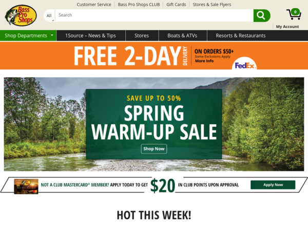 Bass Pro Shops Deals Free Standard Shipping On Orders 50 Bass Pro Shops Coupons And Deals For January 2021 Bass Pro Shops Bass Pro Shop Shopping Sale