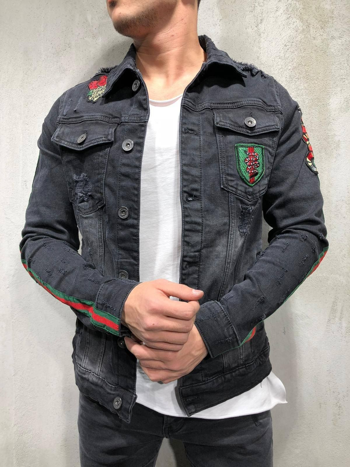 LoveClothing.com Military Style Black Gold Embroidery Cotton Jacket UK 6