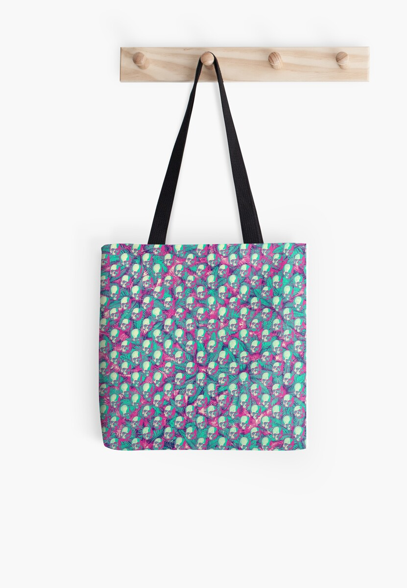 Botanical Vintage Tropical Hawaiian Occult Pastel Skull Pattern Millions Of Unique Designs By Independent Artists Find Your Skull Tote Bag Bags Skull Tote
