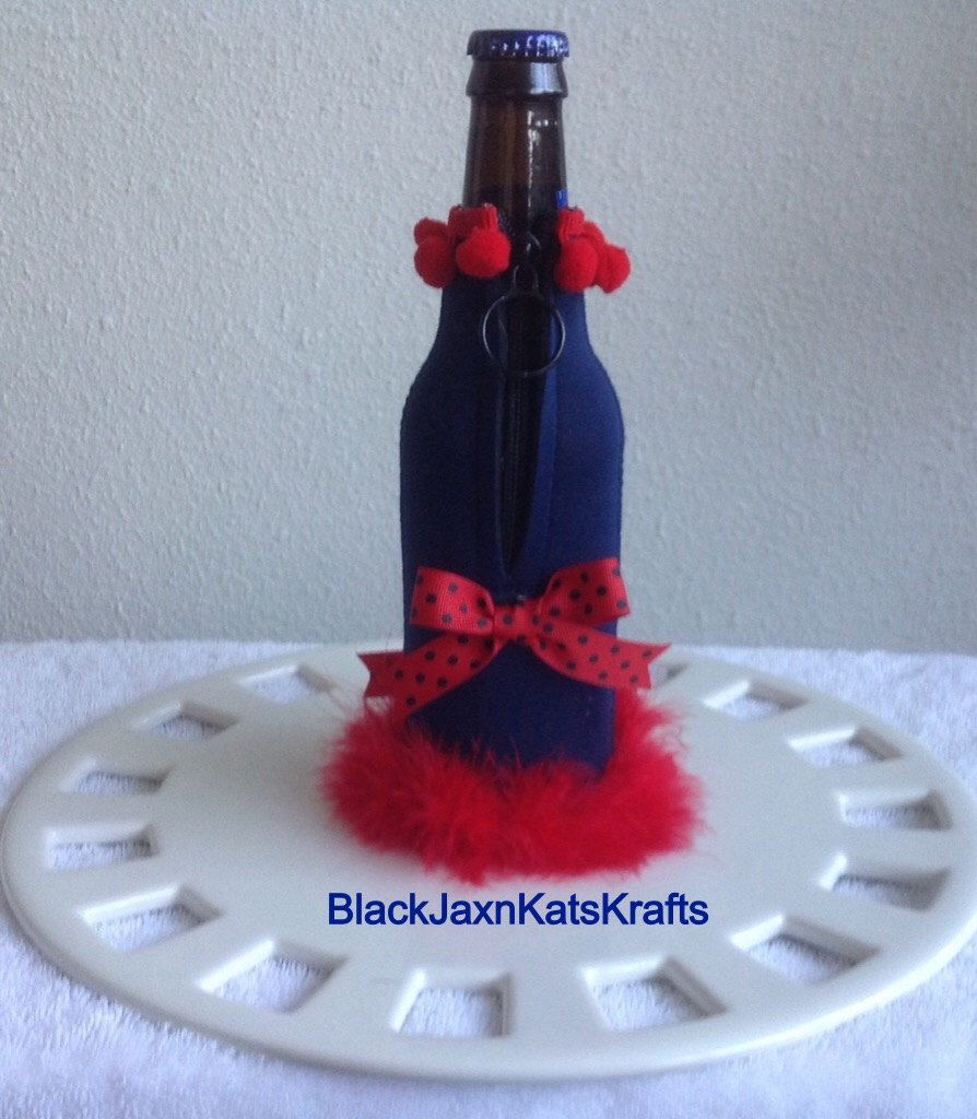 A personal favorite from my Etsy shop https://www.etsy.com/listing/210246964/embellished-beer-bottle-koozienew