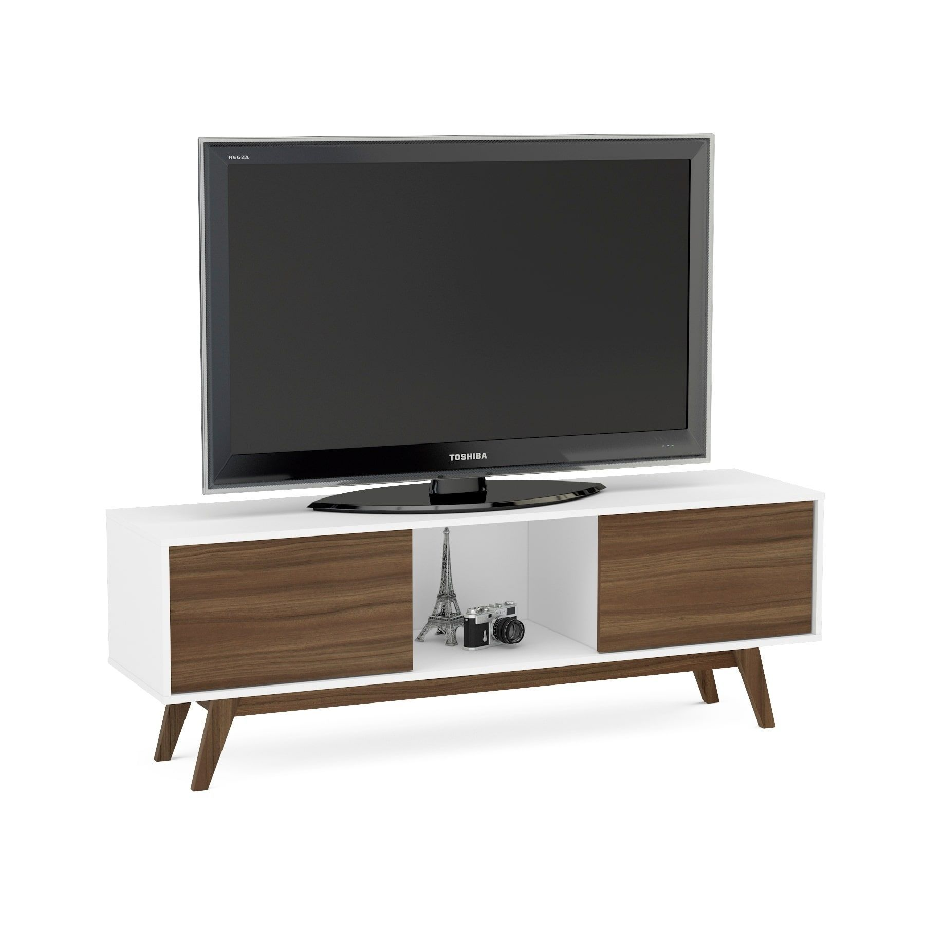 Contemporary Tv Stands Boahaus White Walnut Wood 2 Closed Compartments Tv Stand