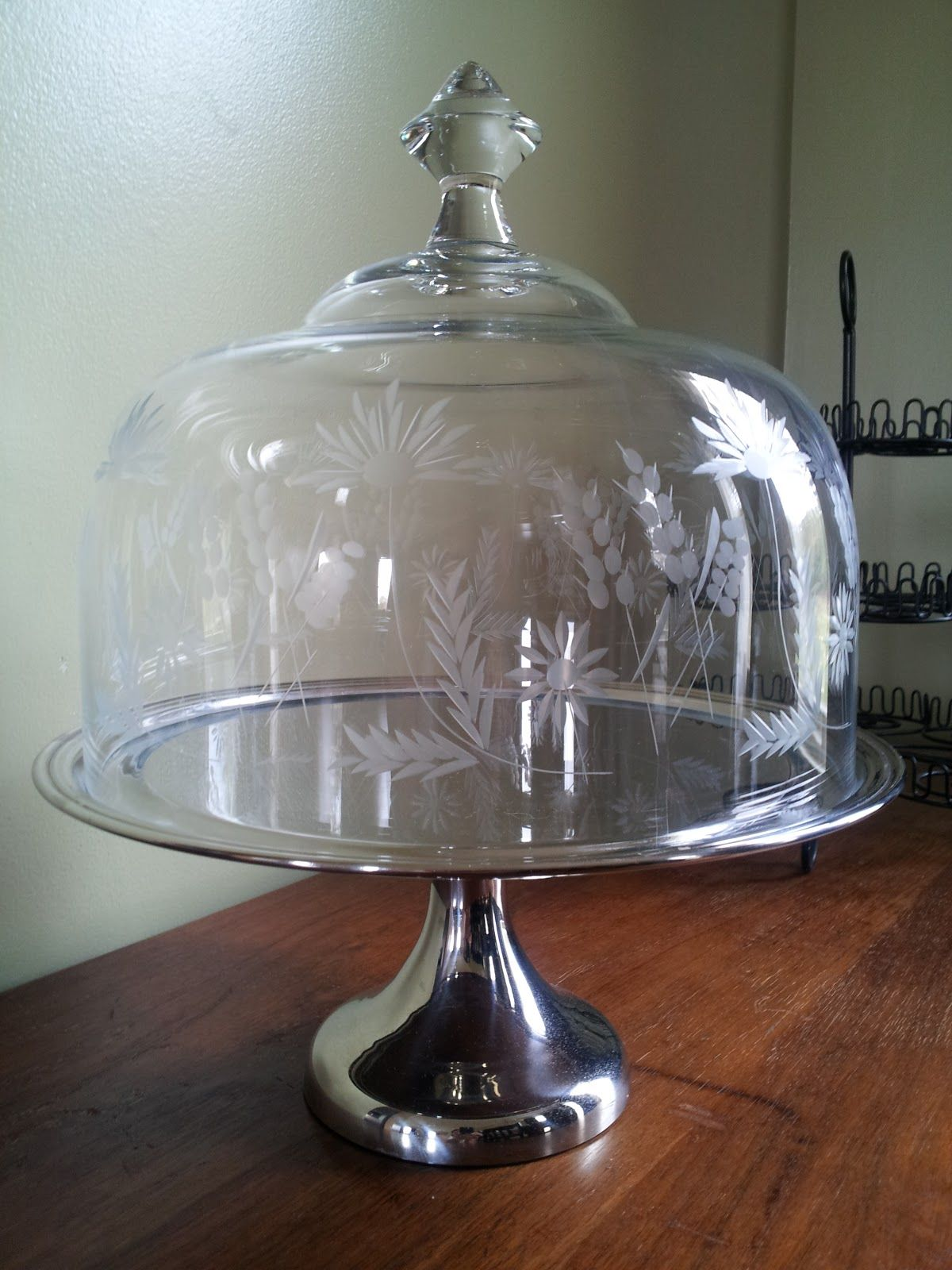 Glass Cake Stand Dome Cover Crystal Dome Stainless Steel Cake