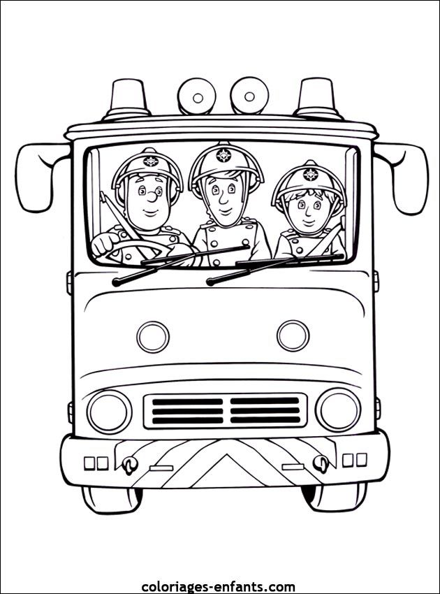 Coloriage Camion Pompier Facile.Coloriage Sam Le Pompier A Colorier Dessin A Imprimer Rania