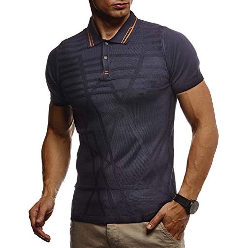 7011ddefb2c1 LEIF NELSON Herren Sommer T-Shirt Polo Kragen Poloshirt Slim Fit aus ...