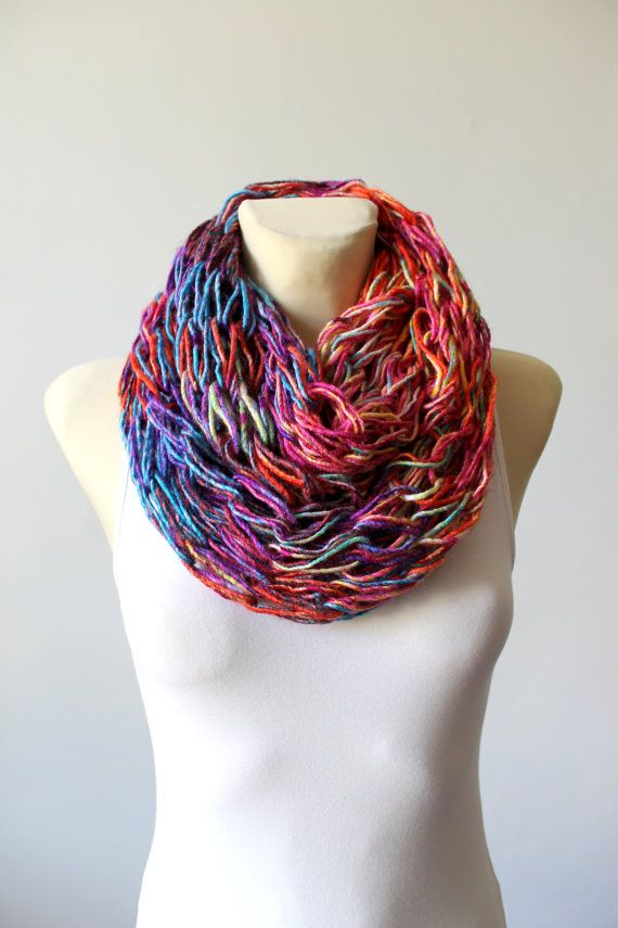 Unique Knit Scarf Chunky Knit Scarf Knit Infinity Scarf Rainbow Knit scarf  Gift for Her Oversized