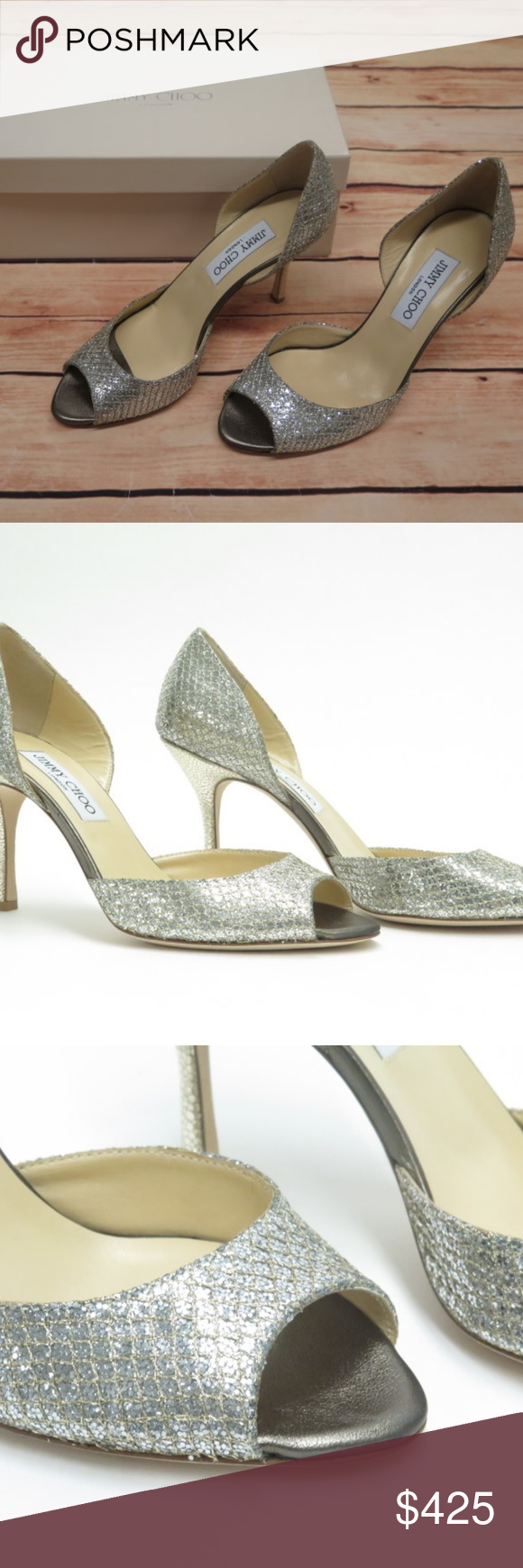 023f9fb885 Shoes Heels · Box · Jimmy Choo Logan Pump Champagne Glitter ITEM: Jimmy Choo  Logan Pump Champagne Glitter Size 37.5