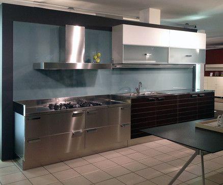 Cucina dada modello vela weng laccato bianco top acciaio inox basi l cm 420 p cm 65 escluso - Cucina laccato bianco ...