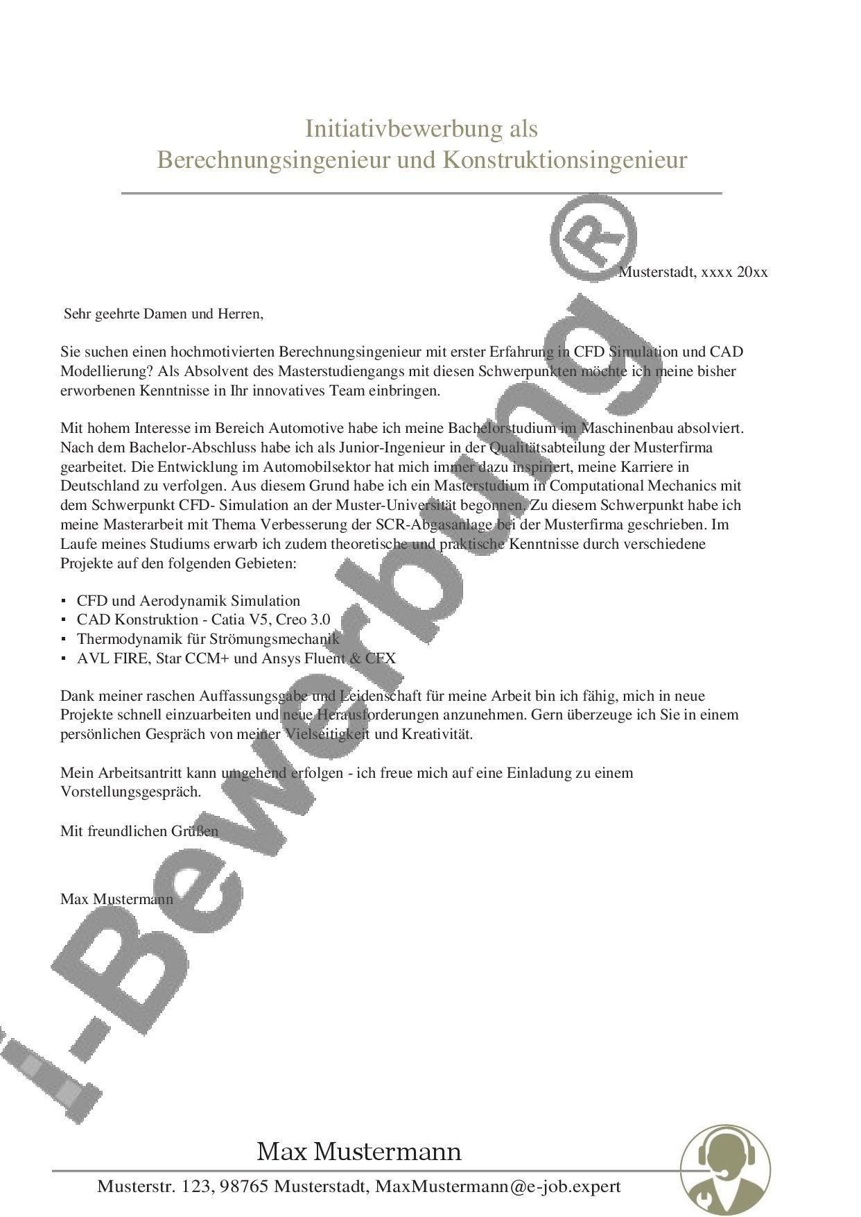 Anschreiben Zur Initiativbewerbung Als Berechnungsingenieur Bewerbung Lebenslauf Vorlage Anschreiben Bewerbung