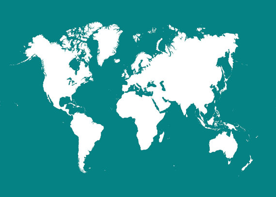 World map teal teal and map globe world map 16x20 teal by themapshop on etsy 1295 gumiabroncs Gallery