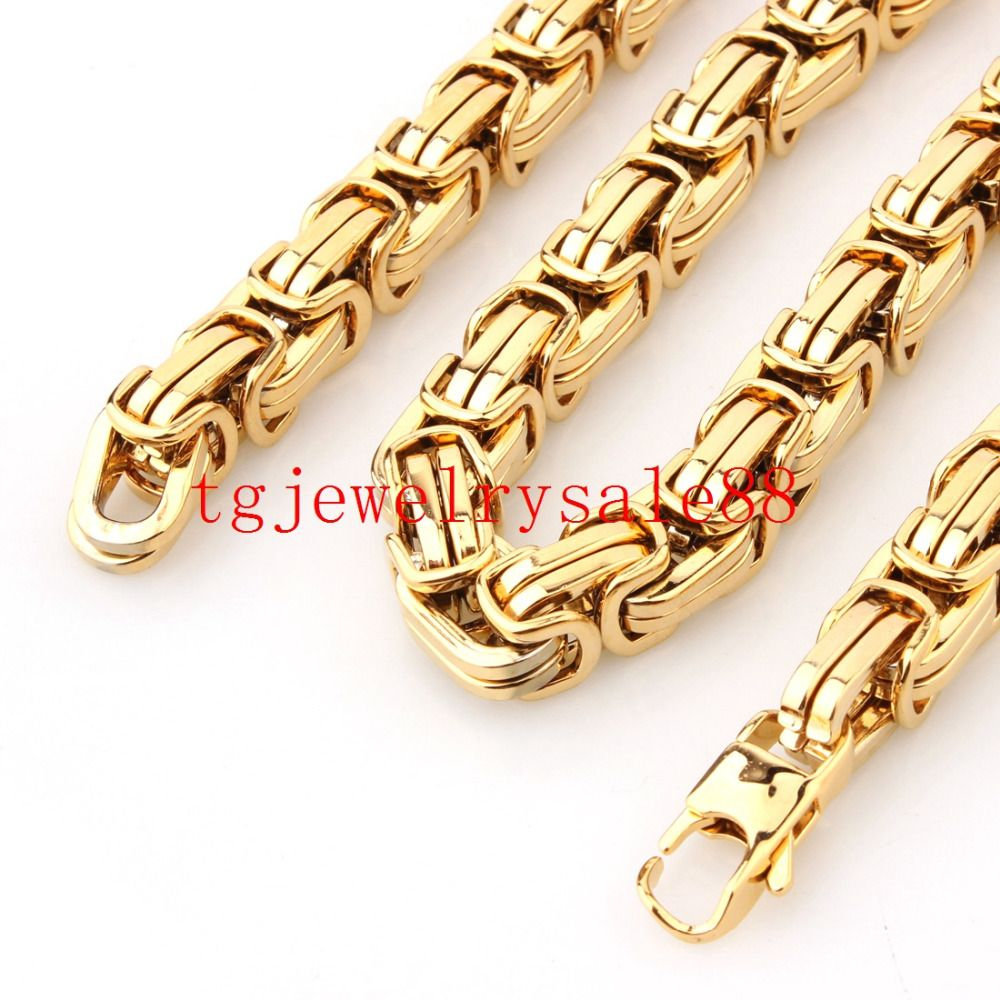 Top gold mm wide byzantine box chain strong men stainless steel