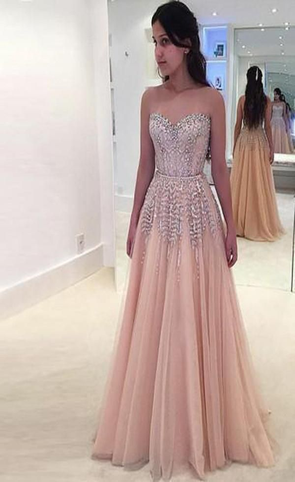 A-Line Sweetheart Beaded Tulle Custom Long Prom Dresses 96b6a2eb4