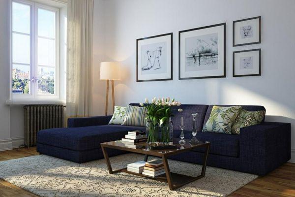 wohnzimmer vintage möbel blaues sofa tulpen | Living Room ...