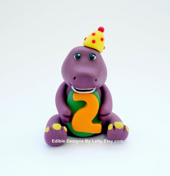 Marvelous Fondant Barney Cake Topper By Edibledesignsbyletty On Etsy 22 00 Personalised Birthday Cards Xaembasilily Jamesorg