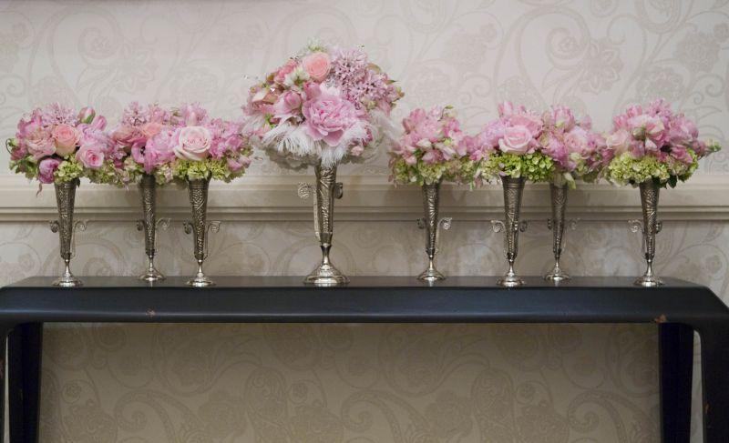 Shades of pink maids and bride's bouquets by Kebbie Hollingsworth Floral Design