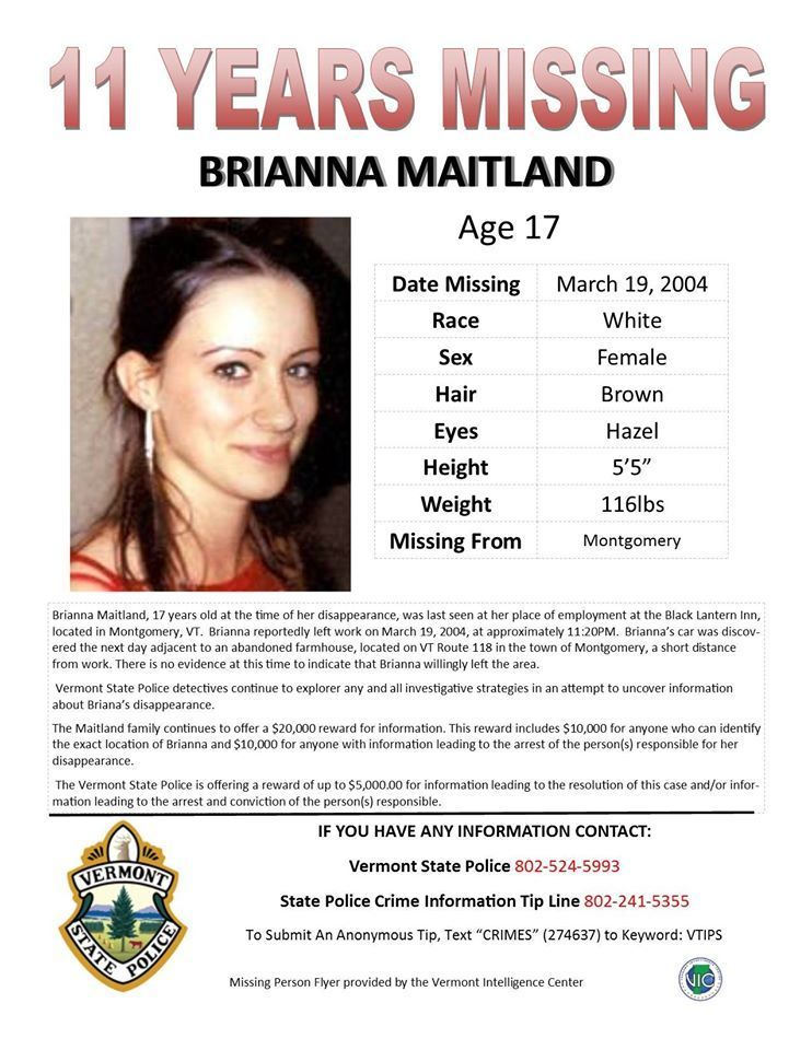 Vermont State Police Continue Investigation Of Disappearance Of Brianna  Maitland, Missing Since 2004  Missing People Posters