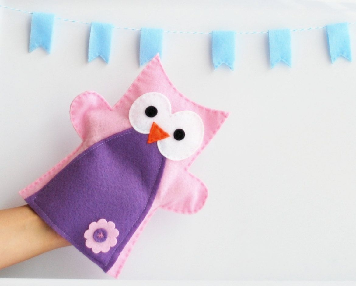 Valentine S Day Plush Owl Hand Puppet Girl Pink Puppet