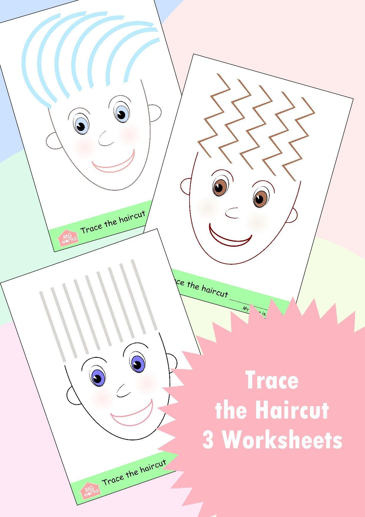 Haircut Tracing 3 Worksheets Printable Crafts Preschool Printable Preschool Kids [ 1754 x 1240 Pixel ]