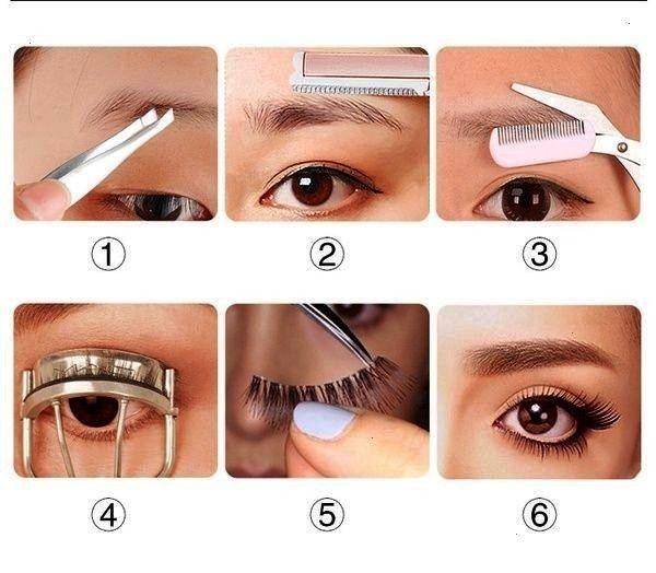 tool eyebrow shaping knife eyebrow card roll warped eyelash clip beauty shaving eyebrow scissors makeup set  Wish ausformung bemalung maquillaje makeup shaping maquillage...
