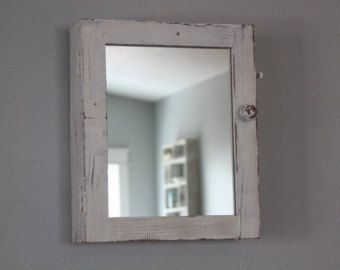Medicine Cabinet Bathroom Mirror Storage Chic Country Cottage White Reclaimed Rustic Shelves