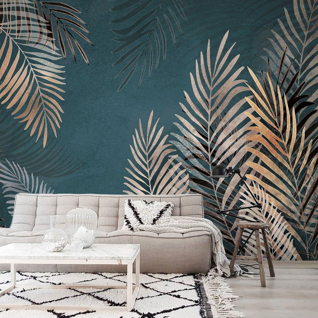 Эффектные артобои с листьями на темном фоне от Креативилль, Тропические листья в интерьере