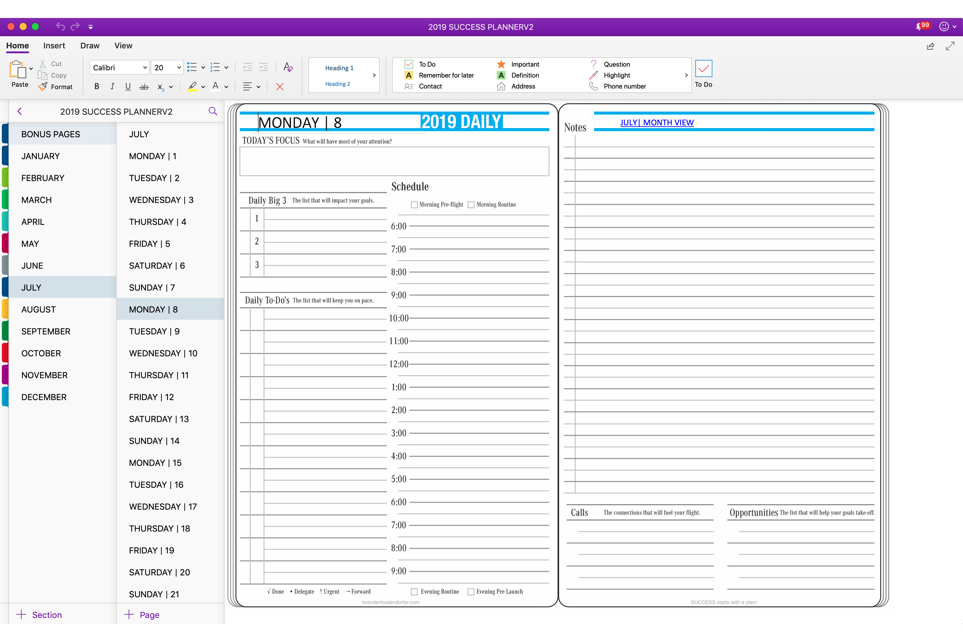 Bodendorfer Key2Success Planner For OneNote (With images