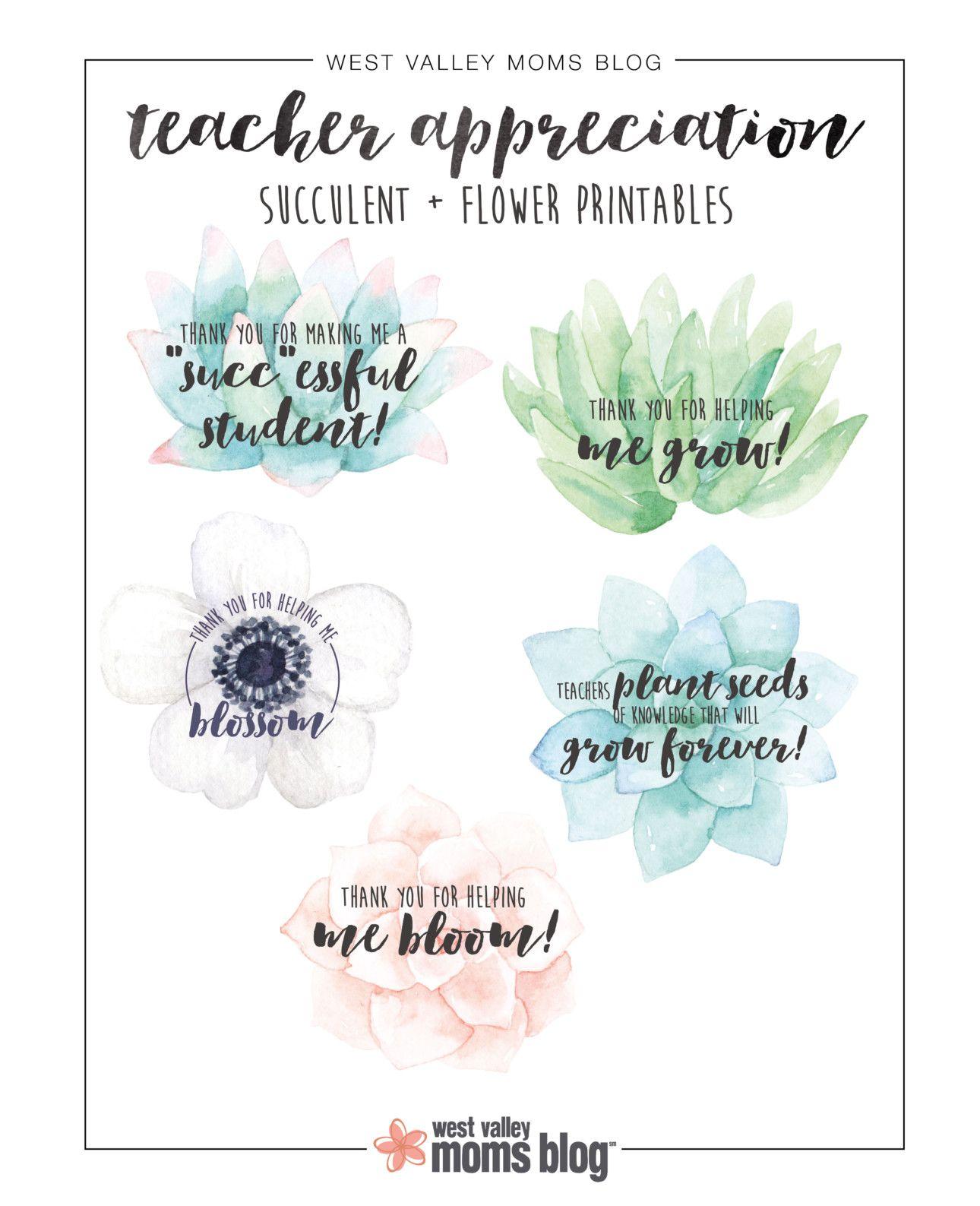 Succulent and Flower Teachers Appreciation Printable | FREE