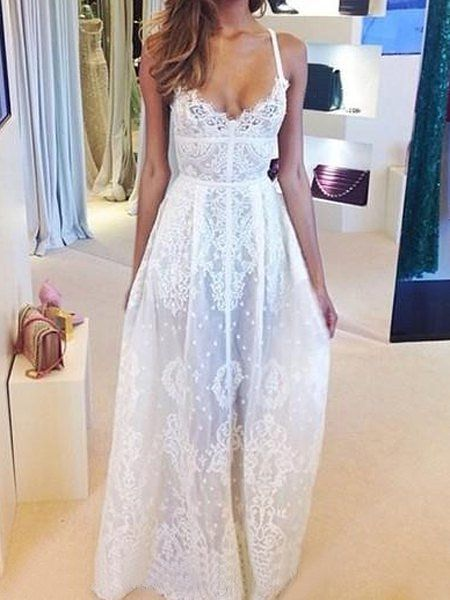 Lace Embroidery See-Through Sexy Style Spaghetti Strap Women's Maxi Dress