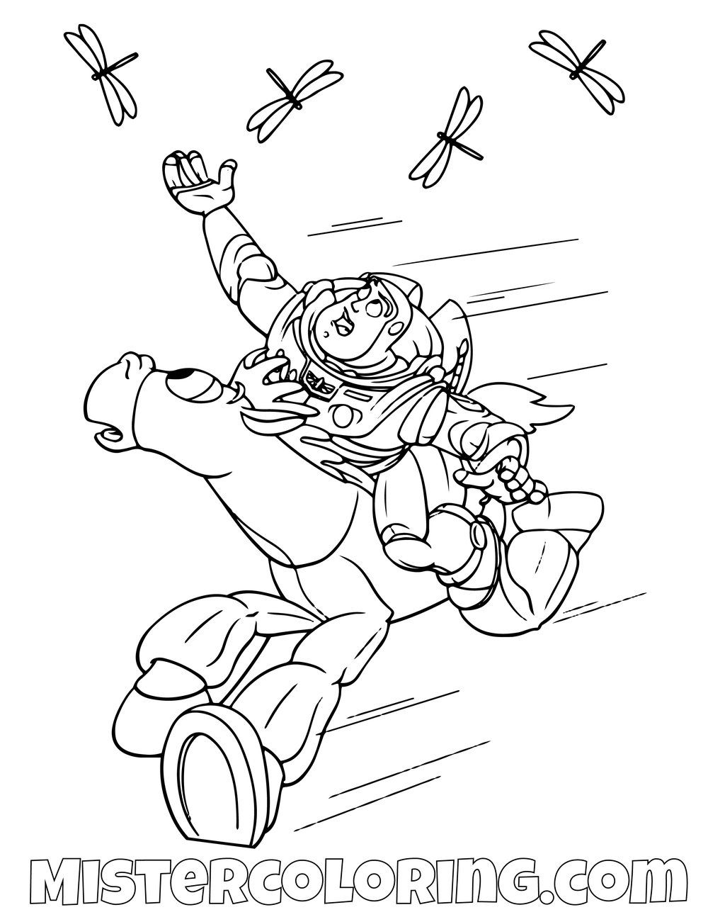 Buzz Lightyear Riding Bullseye Toy Story Coloring Page