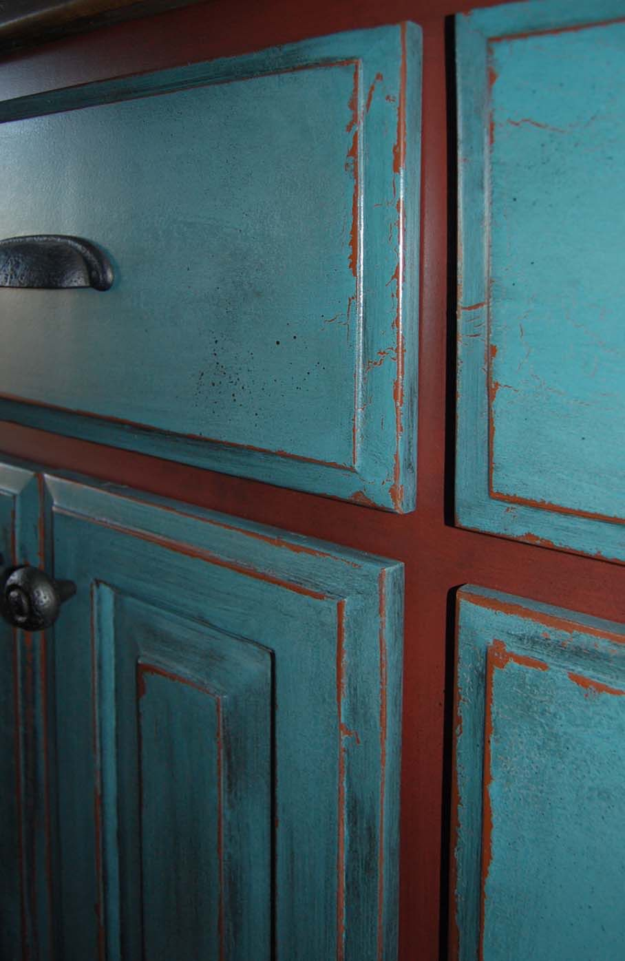 Turquoise W Red Distressed Kitchen Cabinets Furniture Painting Techniques Diy Projects Home Improvement