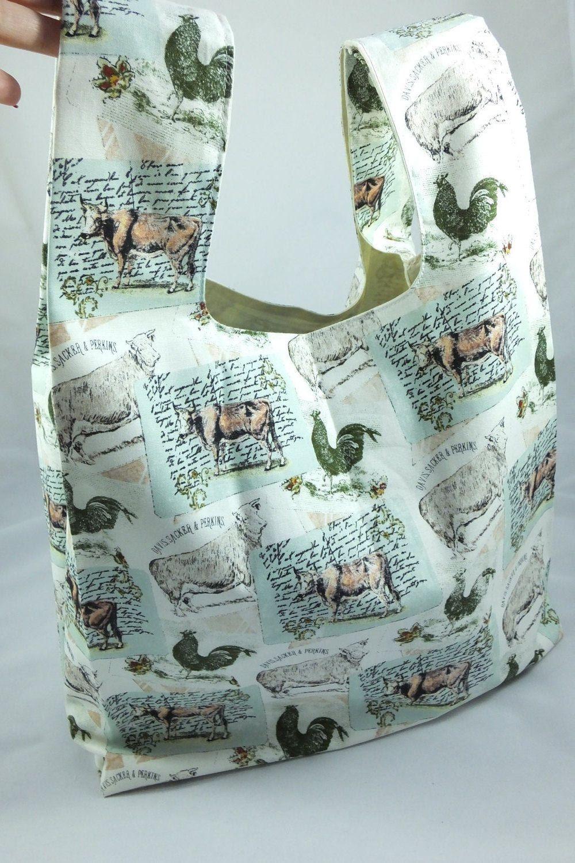 Reusable farmer shopping bag Cow chicken rooster farm