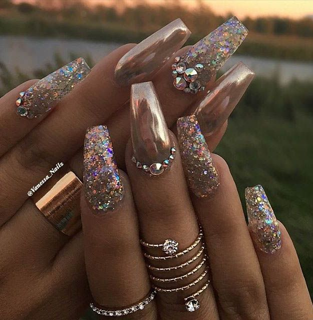 Rose gold and crystals most popular coffin nail designs to try rose gold and crystals most popular coffin nail designs to try yourself coffin nails solutioingenieria Image collections