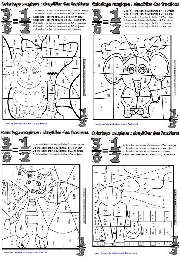 Coloriages magiques de fractions math fractions quivalentes fractions et ducation - Coloriage magique cm2 maths ...
