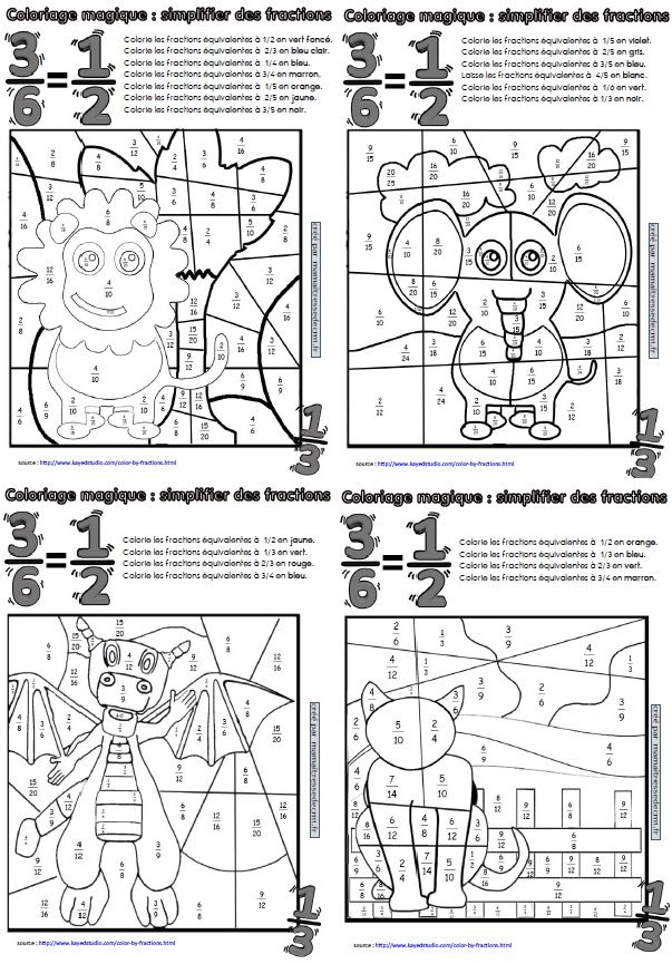 Coloriage Magique Unites Dizaines Centaines Ce2.Coloriages Magiques De Fractions Ecole Fractions Equivalentes