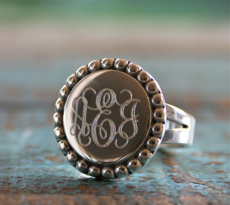 sterling silver monogram ring engraved ring id ring. Black Bedroom Furniture Sets. Home Design Ideas