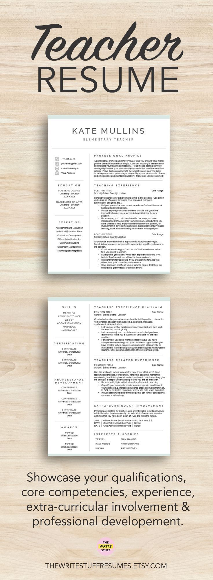 Teacher resume template for Word & Pages (1, 2 and 3 page CV ...
