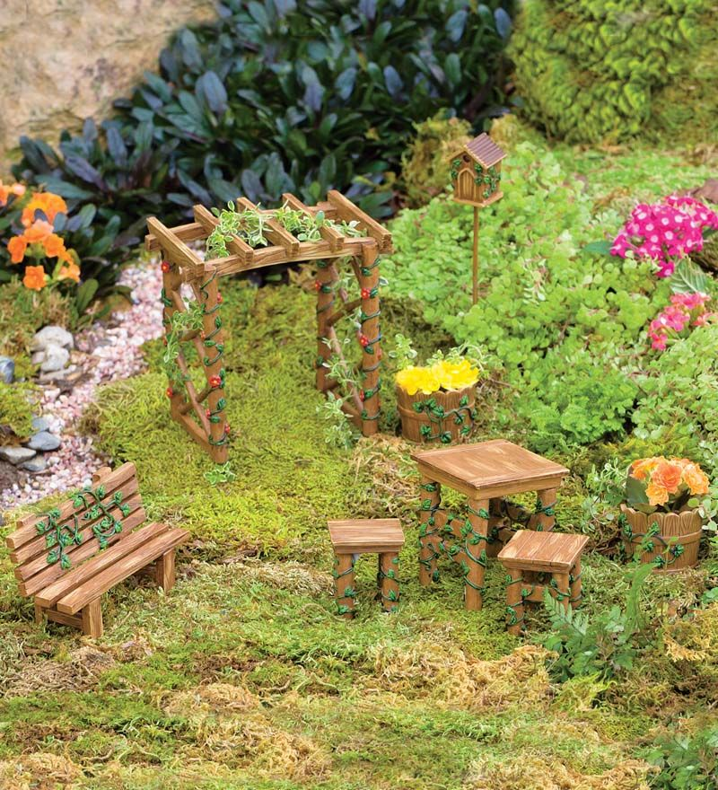 miniature fairy garden ivy furniture set fairy garden pinterest furniture sets fairy and. Black Bedroom Furniture Sets. Home Design Ideas