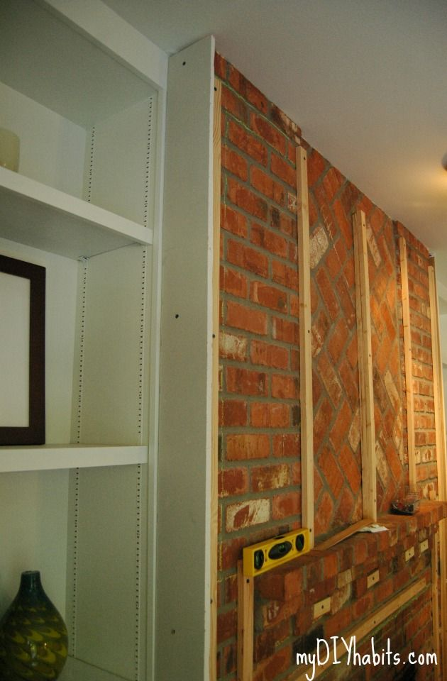 Den Project Begins Adding Drywall To Brick Fireplace Brick Fireplace Makeover Brick Fireplace