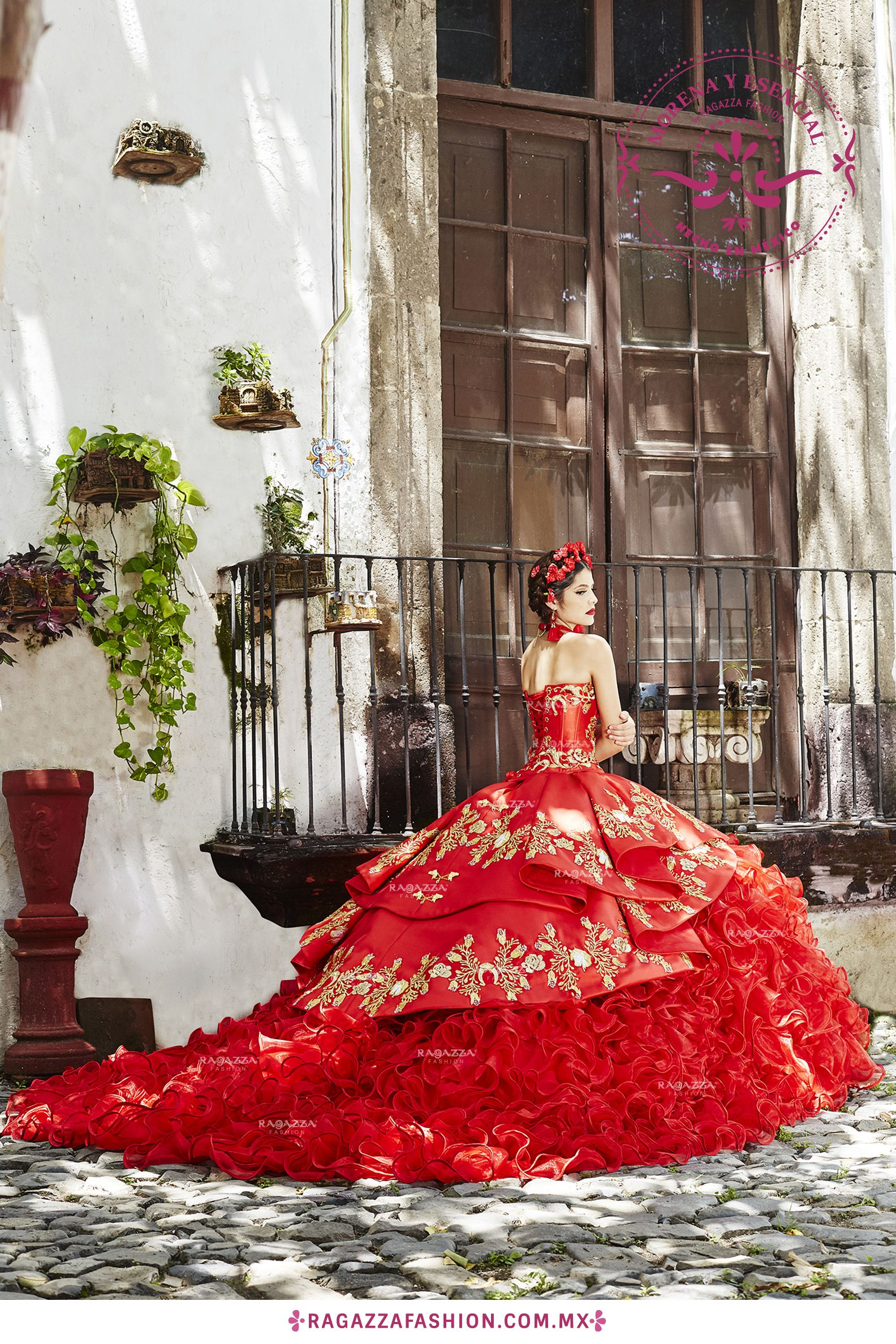 Vivid red charro dress. Made in Mexico. Beautiful quinceañera dress ...