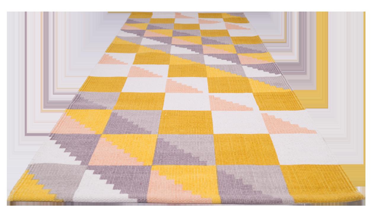 TILKKUTÄKKI-matto 80 x 200 cm (Kelta-harmaa)