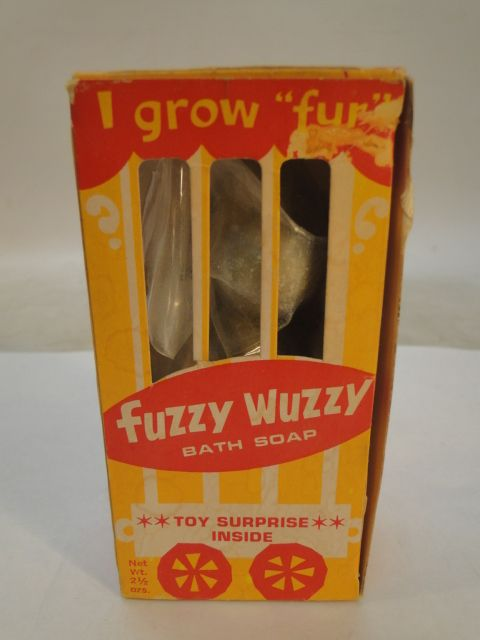 VINTAGE FUZZY WUZZY BATH SOAP TOY SURPRISE INSIDE GROWS FUR AEROSOL ...