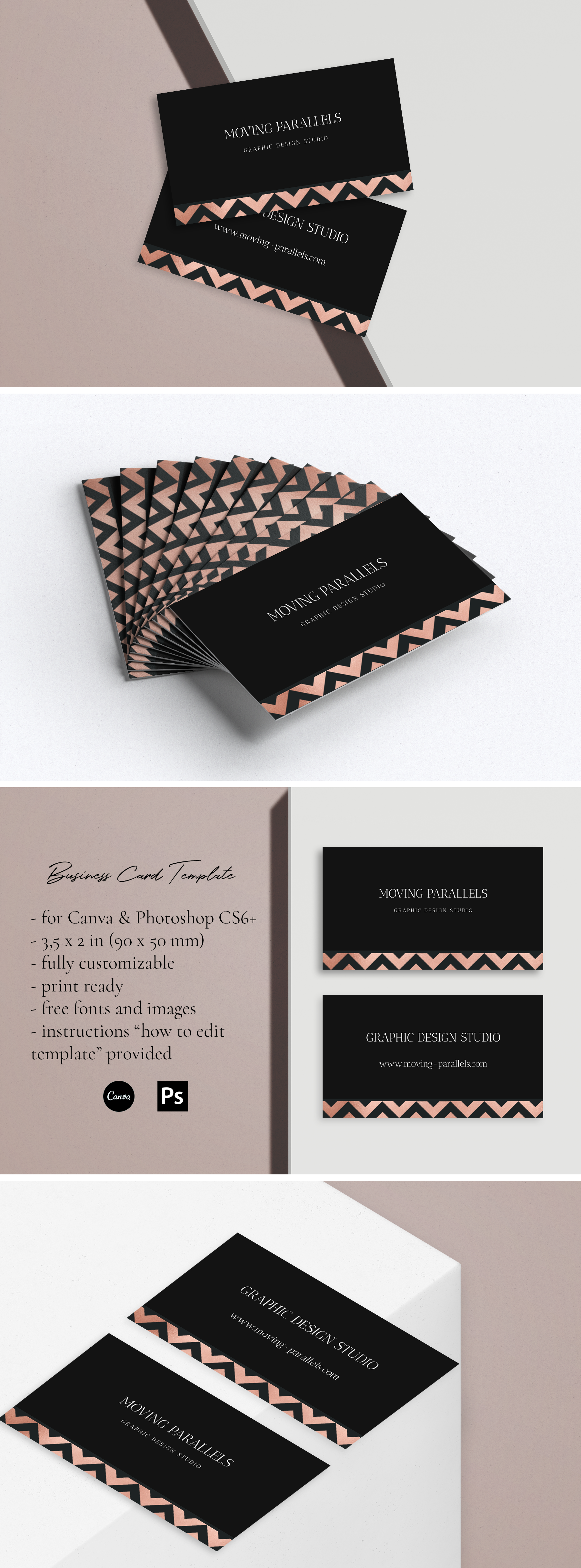 Canva Rose Gold White Black Marble Glitter Foil Business Etsy In 2021 Classy Business Cards Foil Business Cards Clever Business Cards