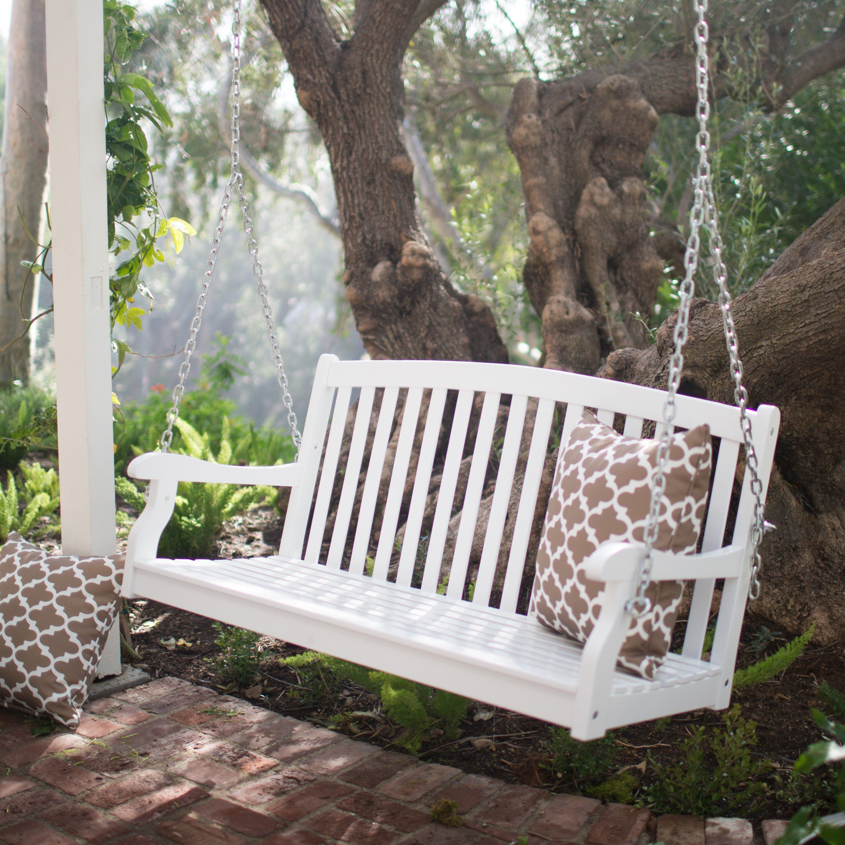 Coral Coast Pleasant Bay White Curved Back Porch Swing With Optional