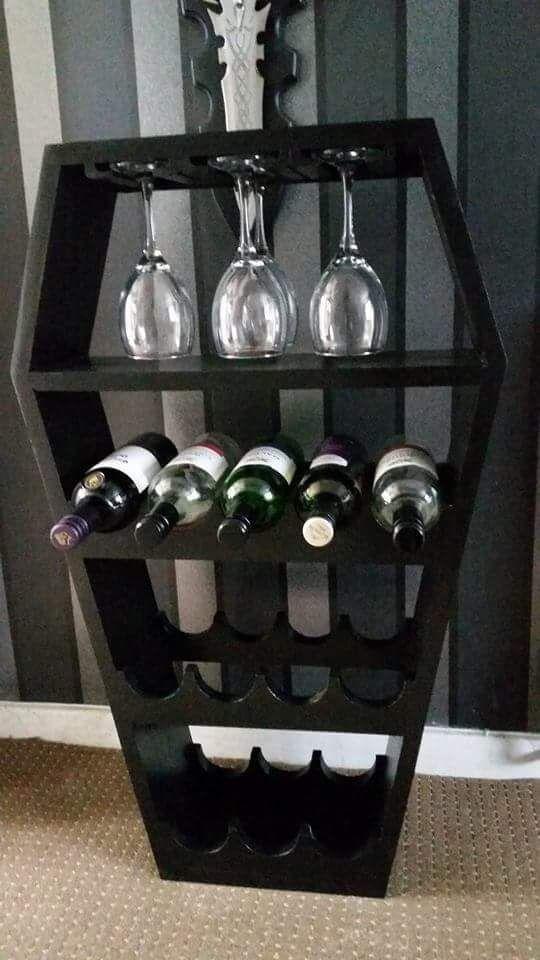 Photo of Black Coffin Bespoke Wine Rack Custom Made Gothic Wine Rack
