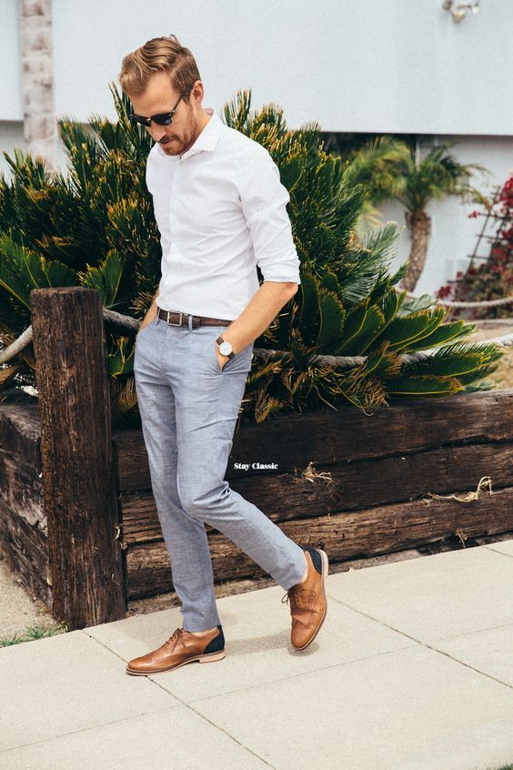 grey pants, a white shirt and brown leather shoes | Mens
