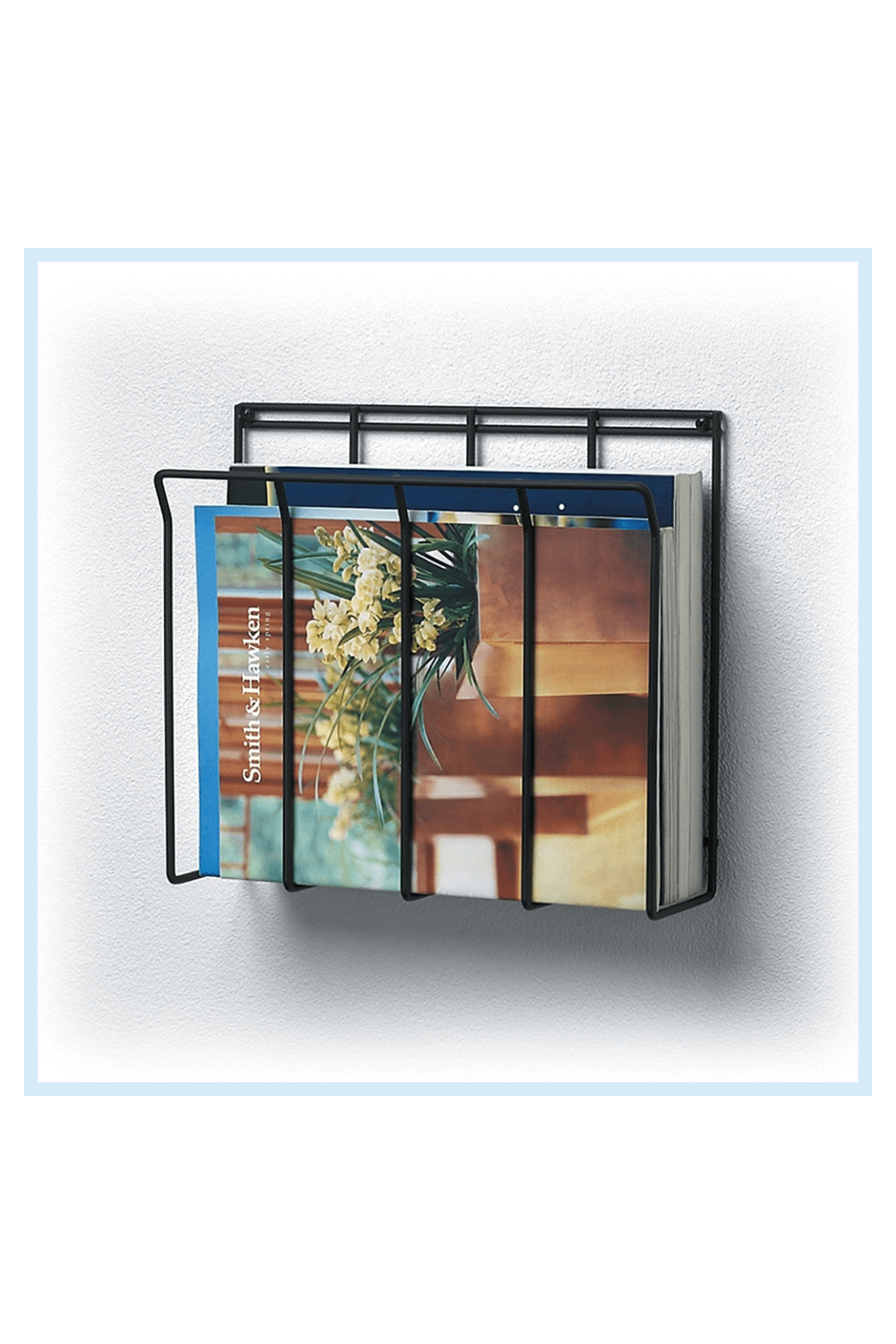Wall Mount Wire Magazine Rack & Newspaper Caddy Black - Durably constructed out of steel, the Wall Mount Wire Magazine Rack & Newspaper Caddy features a slim, modern design that is perfect for storing standard-sized magazines, newspapers and periodicals.