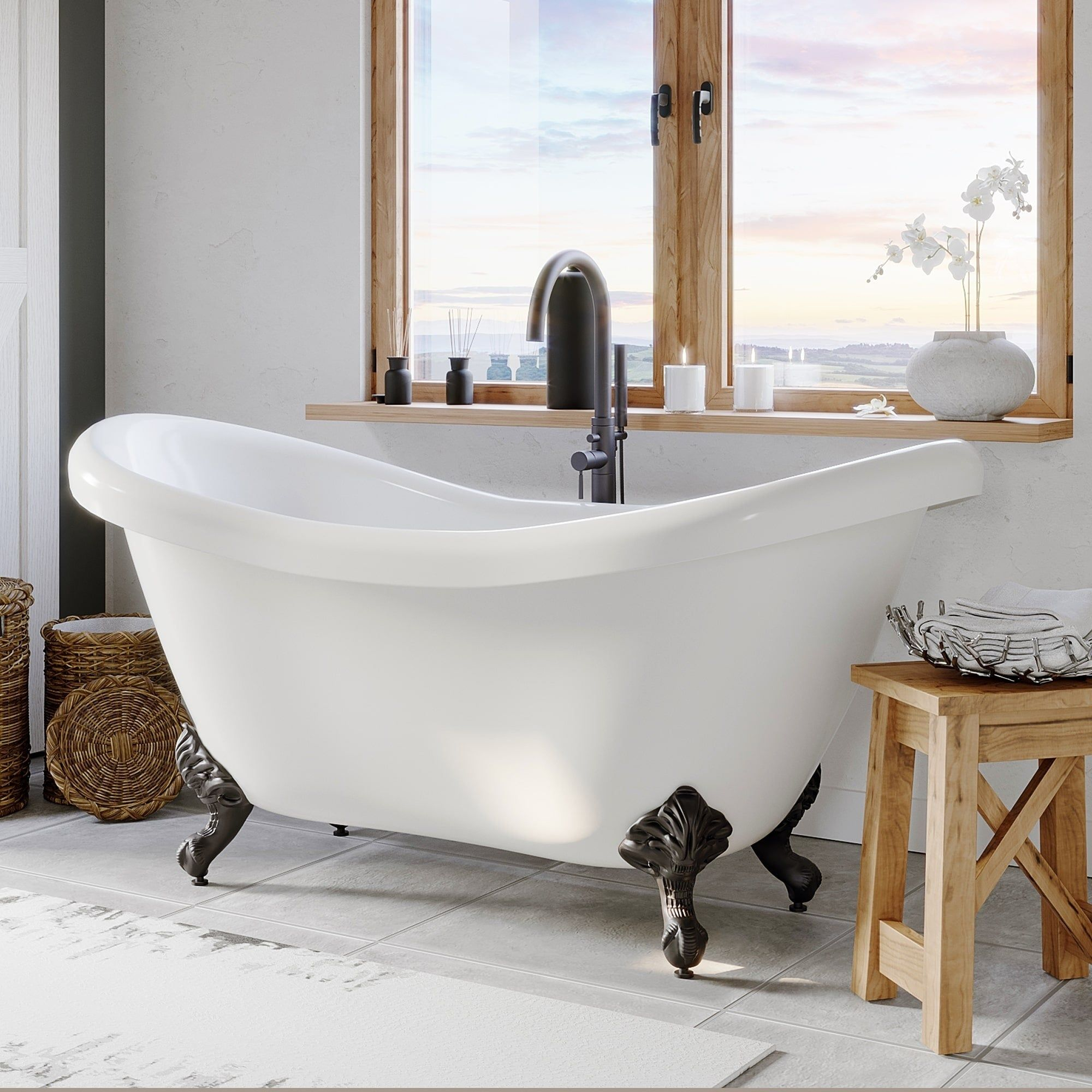 Double Slipper Clawfoot Tub Oil Rubbed Bronze Plumbing And Feet